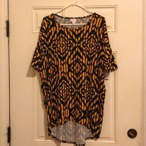 Lularoe Irma tunic black and yellow design Medium